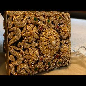 Handmade stone and pearl mini fancy clutch